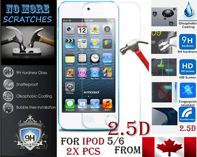 2X 2.5D 9H Premium REAL Tempered Glass Apple ipod 5 6 5th 6th Screen Protector ,