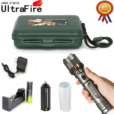 Tactical Zoomable 150000Lumens T6 LED Flashlight Lamp Torch+18650+Charger+Case*