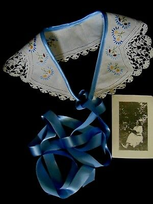Edie's Handworked Collar French Powder Blue Ribbon Forget Me Nots WITH Edie's Ph