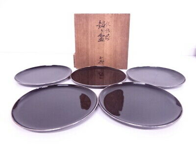 4051714: Japanese Tea Ceremony / Lacquered Serving Plate Set Of 5 Pure Silver Ri