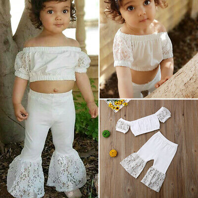 US 2PCS Toddler Kid Baby Girl Off-Shoulder Lace Tops Flared Pants Outfit Sunsuit