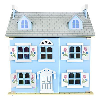 Leomark Blue Wooden Doll House With Furniture + Dolls Kids Free P+P