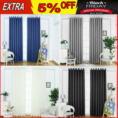 2X Thermal Blockout Curtains Panels 3 Layer Eyelet Ring Pure Fabric + 2Tie-Backs