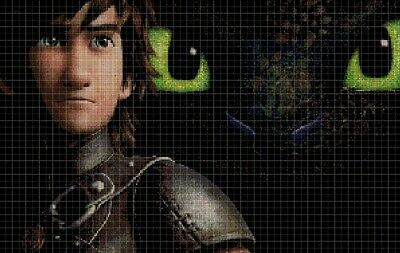 How to train your dragon- Hiccup cross stitch pattern in pdf