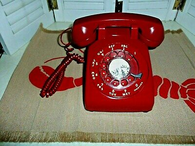 Vintage Red Rotary Dial Desk Telephone Bell Western Electric W/ Plug In Works