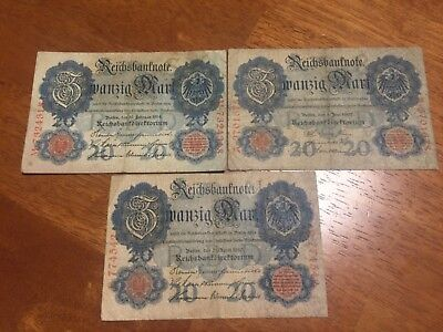Lot of 3 pcs German 20 mark banknotes 1907,1910,1914 circulated different year