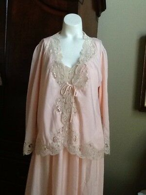 Vintage Eve Stillman Nylon Ecru Lace Pink Nightgown and Bed Jacket Lingerie  Nice 1c762937e