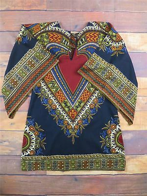 Daskiki Vintage Hippy Kaftan Top - African - Beach - Holiday Shirt  UK 8-10