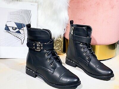 806e0a6ce55 Ladies Womens Military Boots Army Combat Ankle Lace Up Flat Biker Zip Sizes  3-8