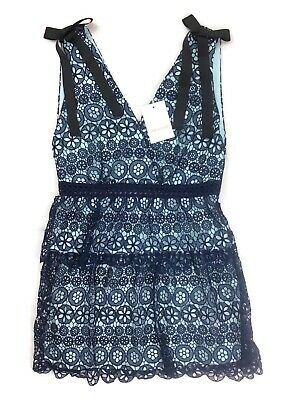 Self Portrait Tiered Circle Floral Lace Dress Blue Uk14