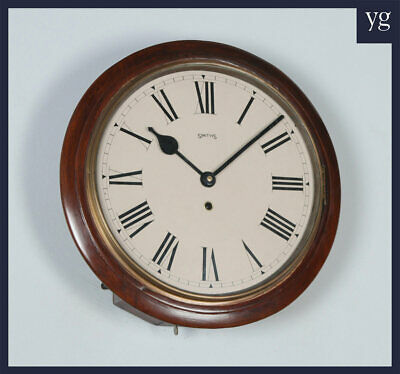 "Antique 15"" Mahogany Smiths Railway Station / School Round Dial Wall Clock c1920"