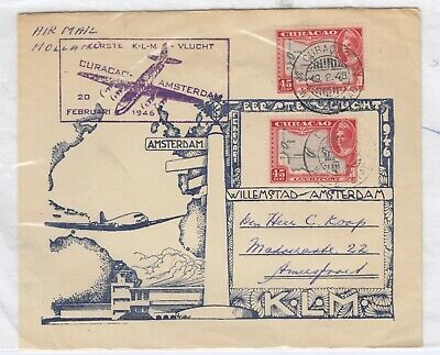 Curacao 1946 Illustrated Flight Cover To Holland Postal History J4178