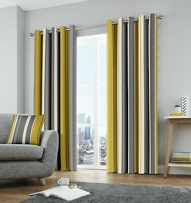Fusion Whitworth Stripe 100% Cotton Ready Made Fully Lined Eyelet Curtains Ochre