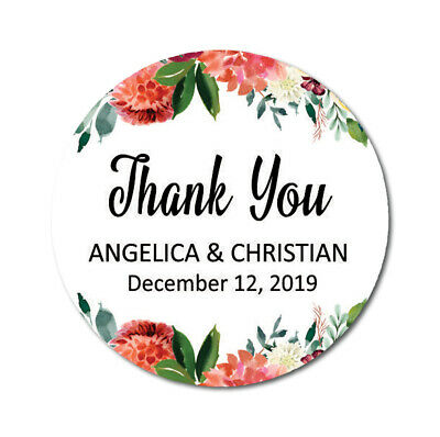 Darling Souvenir Floral Border Thank You Stickers Personalized Bride-DS-TY126