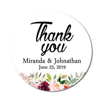 Darling Souvenir Peony Floral Thank You Stickers Personalized Bride-DS-TY177