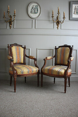 Two French antique bedroom armchair Louis XVI