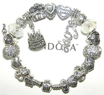 Authentic Pandora Silver Bracelet with BIRTHDAY, LOVE, WHITE European Charms