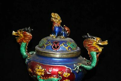 China old Xuande Year Pure copper Stunning Painted Dragon head incense burner