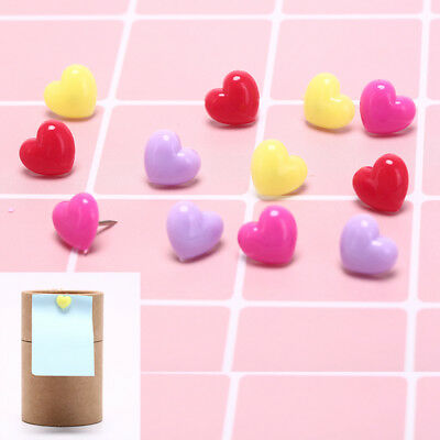 12pcs/box multi-color heart push pins notice board map drawing office thumbM PX