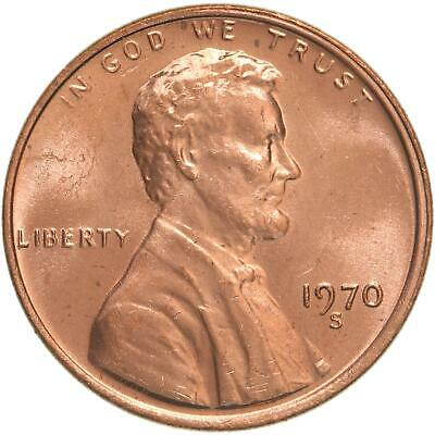 1970 S Lincoln Memorial Cent Large Date Choice BU Penny US Coin