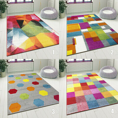 Modern Multi Coloured Rug Bright Design Floor Mat Living Room Carpet Small Large