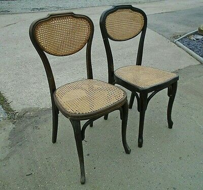 Pair Antique Bergere Wicker Bentwood Cafe Bistro Bedroom Kitchen Chair Vintage 2