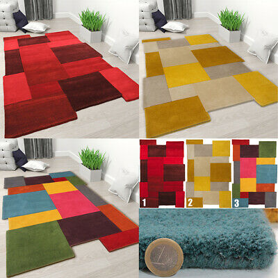 Designer Wool Rug Modern Thick Geometric Carpet Contemporary Mat Small Large