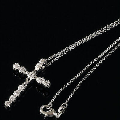 Women 925 Sterling Silver CZ Cubic Crystal Cross Pendant Necklace Diamante