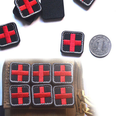 outdoor survival first aid pvc red cross hook loop fastener badge patch 2.5cm VG
