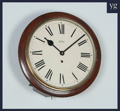 "Antique 15"" Mahogany Smiths Enfield Railway / School Round Dial Wall Clock c1920"