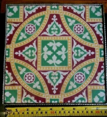 """Antique Minton Tile Mounted In An Ornate, 4 Footed White Metal Stand.  8 By 8"""""""