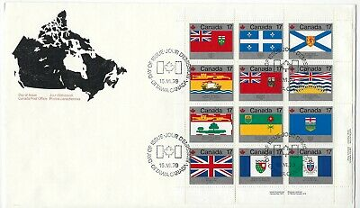 CANADA - #832a - PROVINCIAL & TERRITORIAL FLAGS LR FULL PANE FIRST DAY COVER FDC