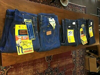 VTG NOS Wrangler Jeans Size 27-30 Waist Lot Of 5 Pairs USA Made New Old Stock