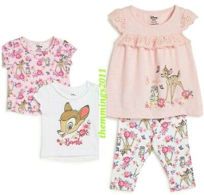 Disney's BAMBI Baby Girl Top & Leggings Outfit Set or 2Pk Tshirts 0-24 Mths