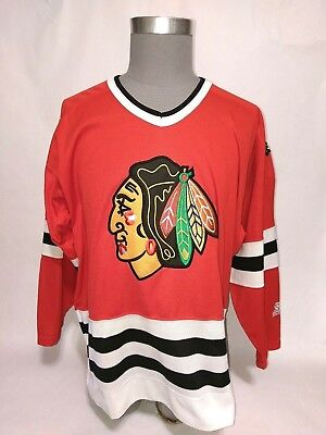 Vtg 90 s Chicago Blackhawks Starter Retro Jersey L NHL Stitched Red Home  Blank b0603f240