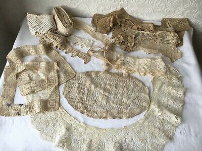 Large Job Lot Antique Hand Made Lace