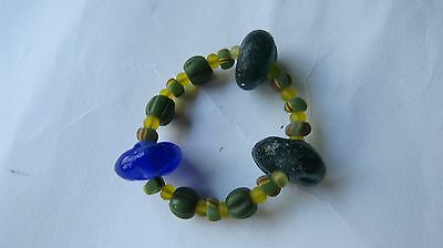 ANCIENT Multi-Color  Variety Sizes  BEADS  Stretch  Bracelet  THAILAND.