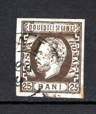 Romania 1971 King Carol 25 Bani Brown Imperf Good To Fine Used Good Margins