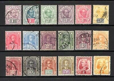 SARAWAK 1888 TO 1932 GOOD TO FINE USED RANGE x 18 STAMPS CAT £56.65