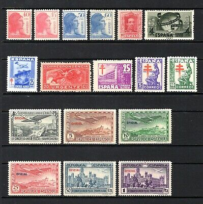 SPAIN 1931 AIRS + OTHERS FROM SAME PERIOD MOUNTED  & LIGHTLY MOUNTED MINT x 17