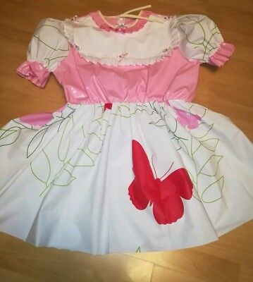 Adult Baby Kleid Rosa Windelhose Sissy PVC LACK Diaper Plastik Barbie Dress L-XL