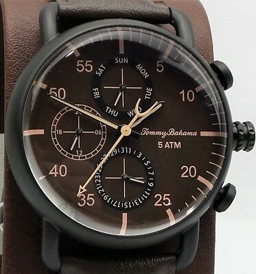 Tommy Bahama Puako TB00014-03 Men's Leather Strap Chronograph Watch $195 NEW