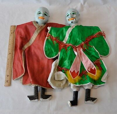 2 Antique Chinese Wooden Head/Arms Hand Puppets Silk Costume Painted Faces