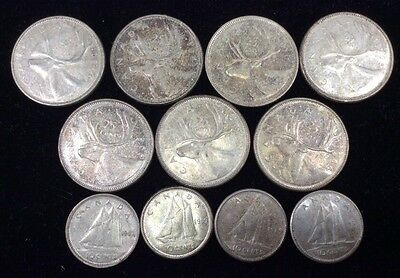 Canadian Silver Coins-Mixed Lot of 7 Quarters & 4 Dimes