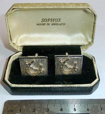 A Vintage Pair Sophos Of Silver Plated Horseshoe & Riding Crop T-Bar Cufflinks