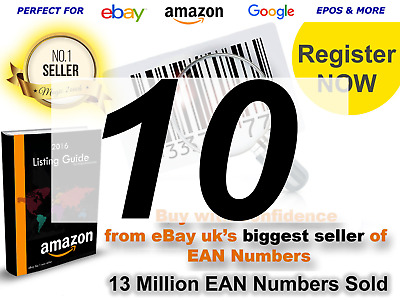 Barcodes EAN-13 UPC barcode bar code Numbers for Amazon 10