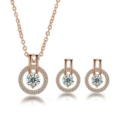 White Topaz CZ Rose Gold Plated Women Jewelry Pendant Earrings Jewelry Set NT307