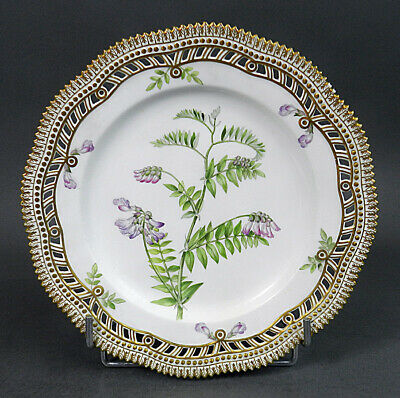 Royal Copenhague Flora Danica Assiette Porcelaine 19ème Vicia Orobus Dl
