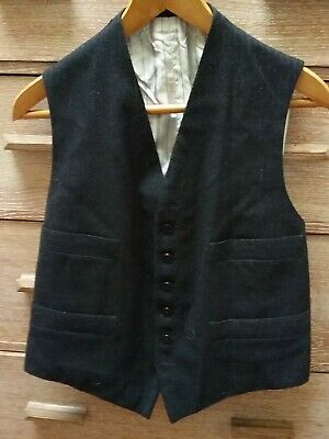 Vintage dark grey finely striped wool waistcoat. Probably 1930s or 40s.