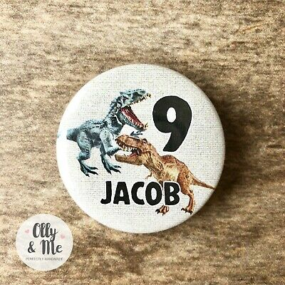 Personalised ANY Name/Age Jurassic World Dinosaur Birthday Badge Party Boy/Girl